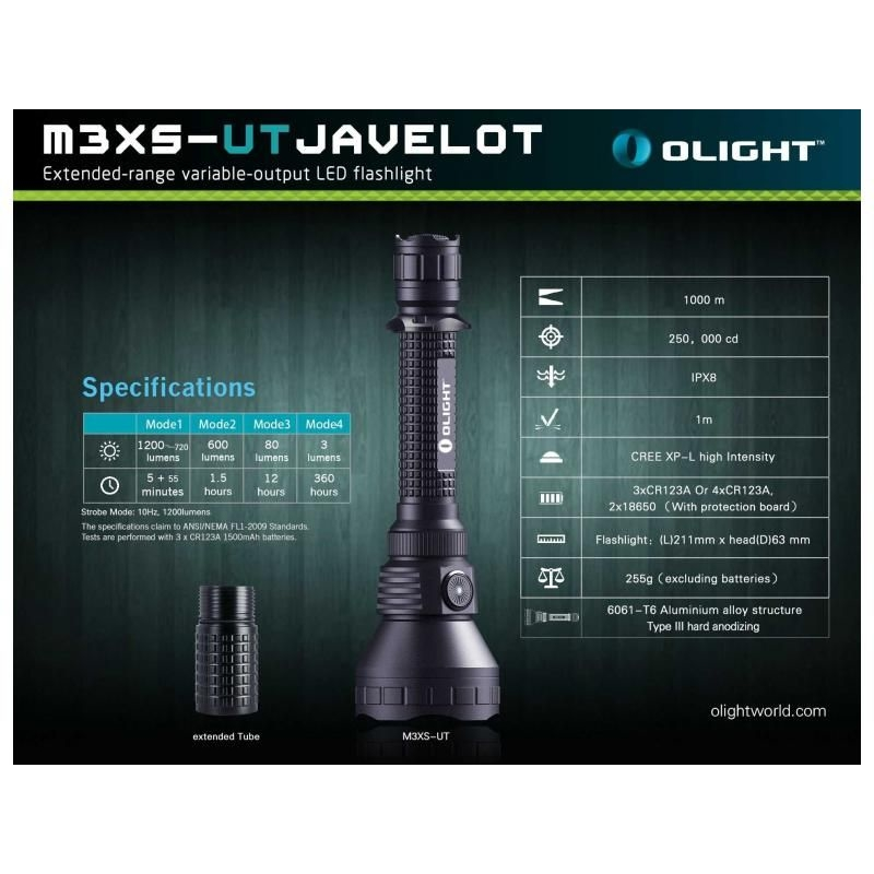 LED baterka Olight M3XS-UT Javelot 1200 lm 13