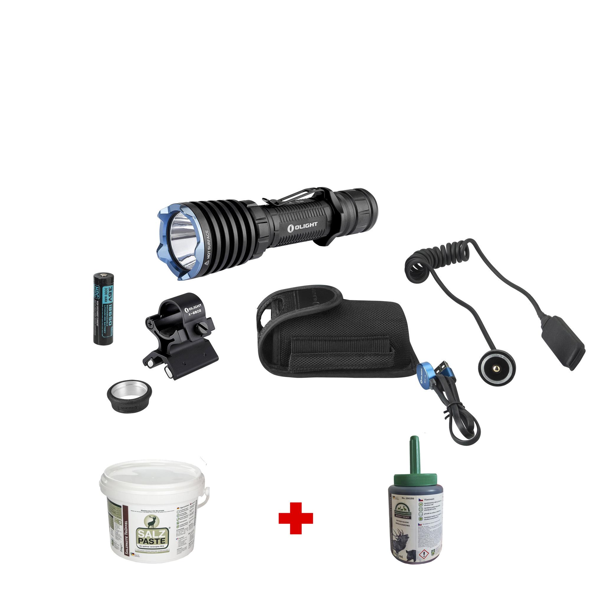 Poľovnícka LED baterka Olight Warrior X Pro KIT 2250 lm + Bukový decht + Soľná pasta ZADARMO