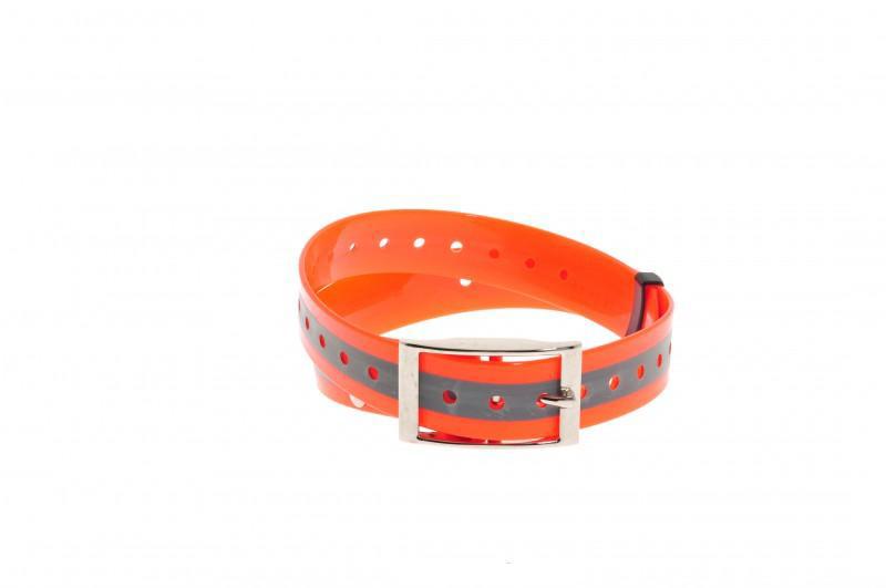 Plastový obojok oranž. reflex. 25 mm x 70 cm