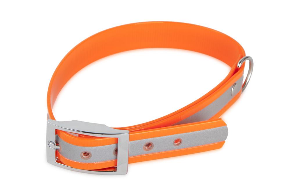 Reflexný obojok TETRAO Biothane oranžový 35 cm