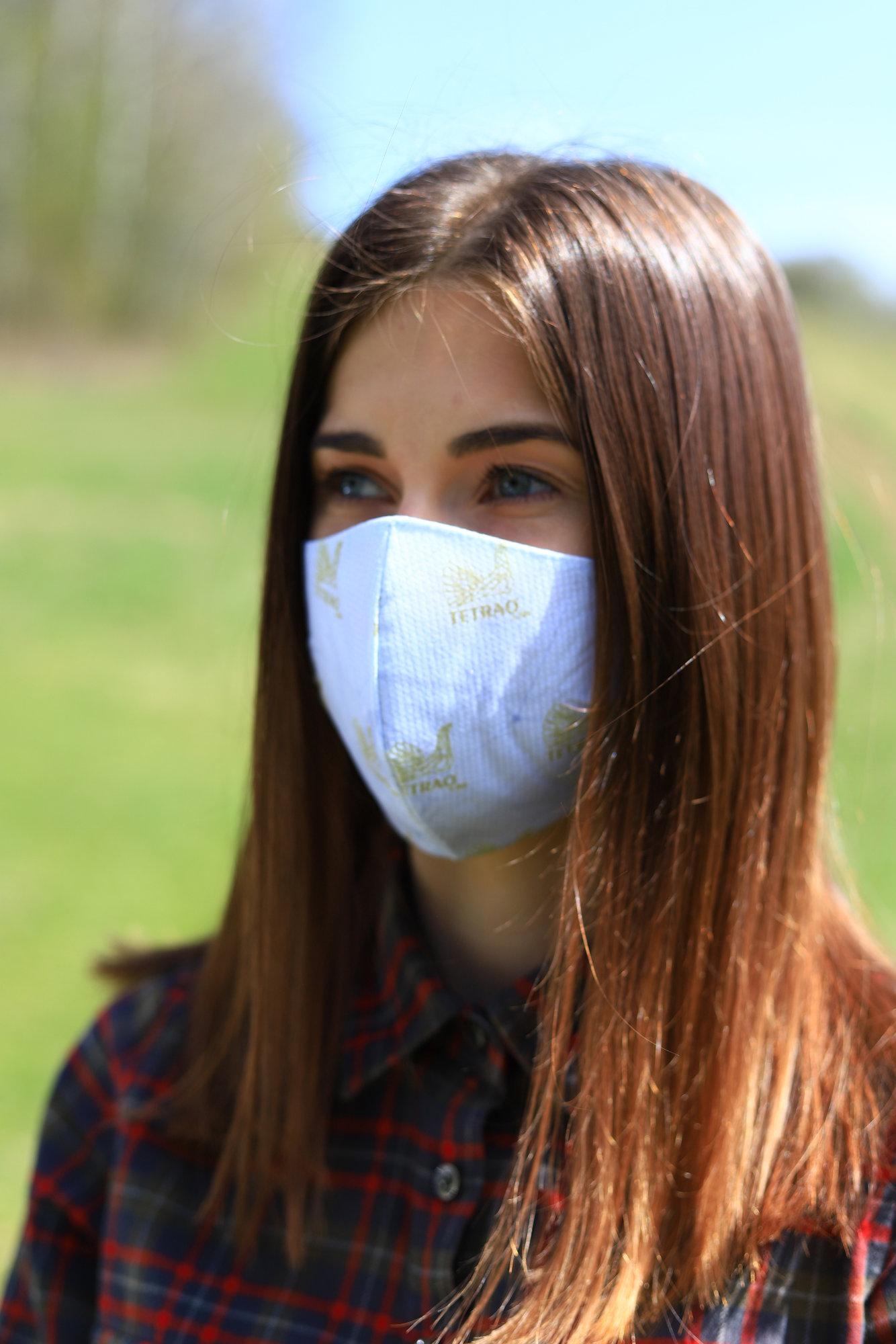 TETRAO bavlnená ochranná maska na tvár - biele