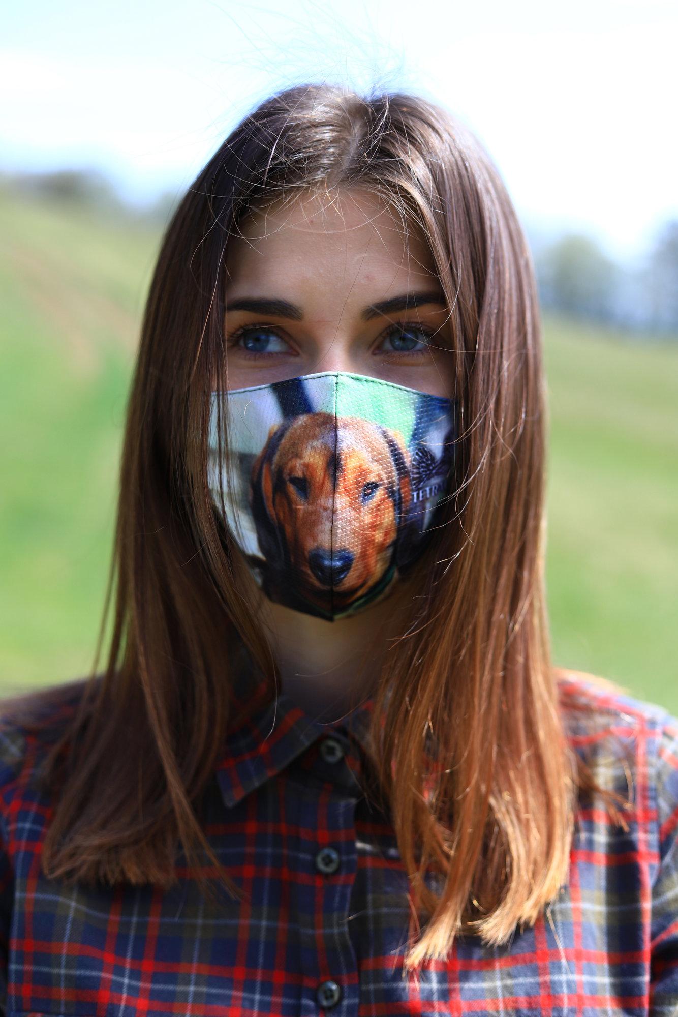 TETRAO bavlnená ochranná maska na tvár - detské s poľovníckym psom