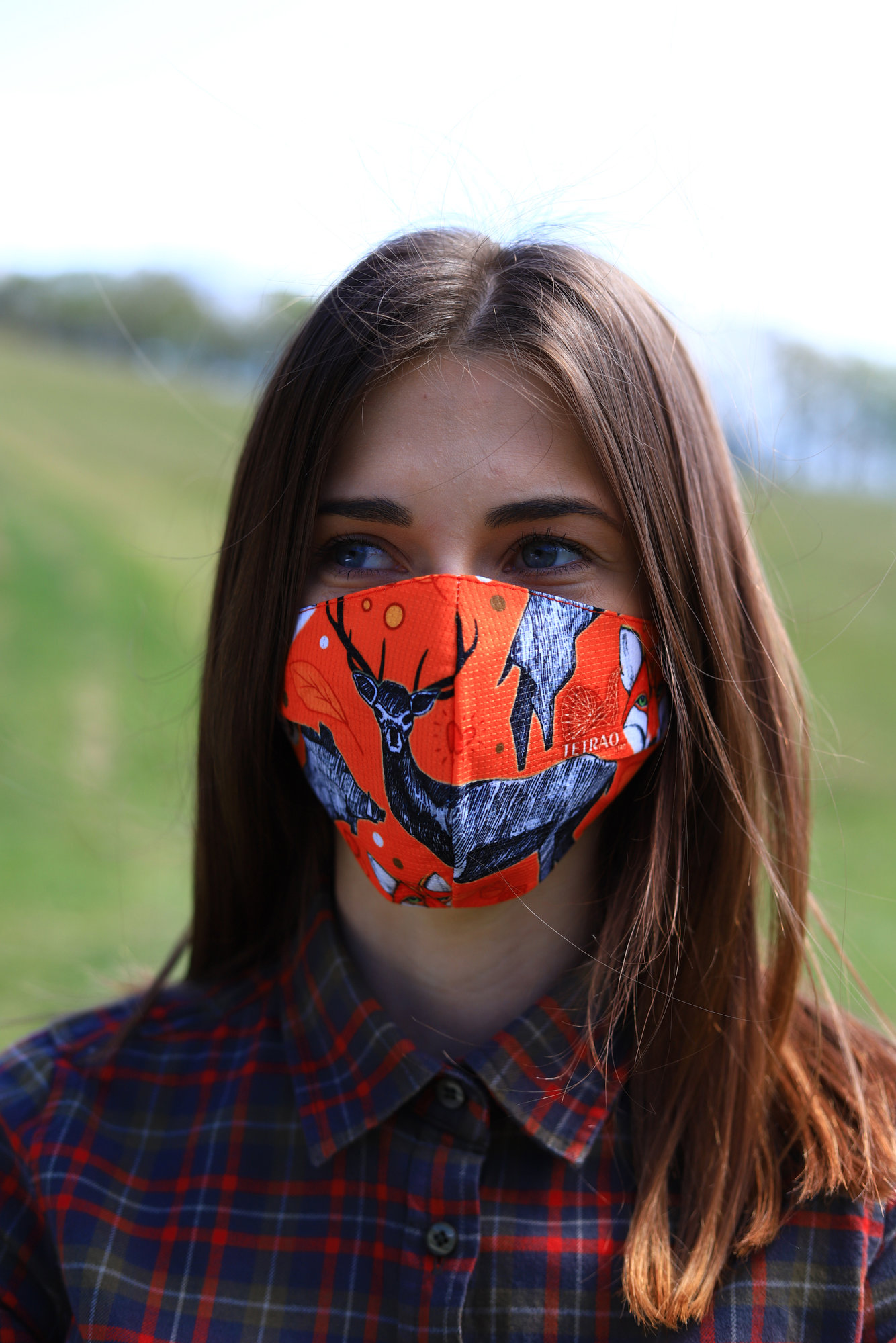 TETRAO bavlnená ochranná maska na tvár - les