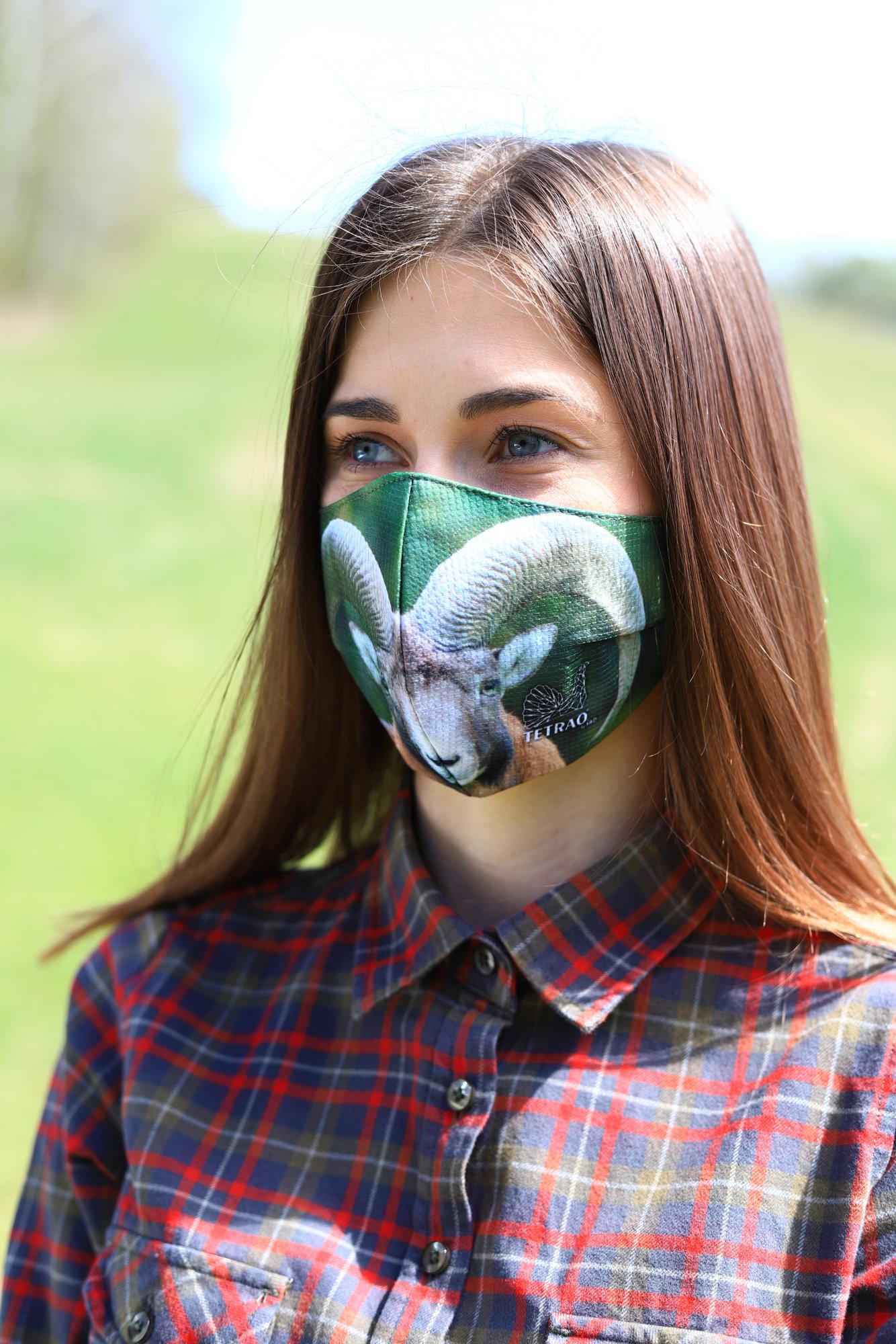 TETRAO bavlnená ochranná maska na tvár - muflón