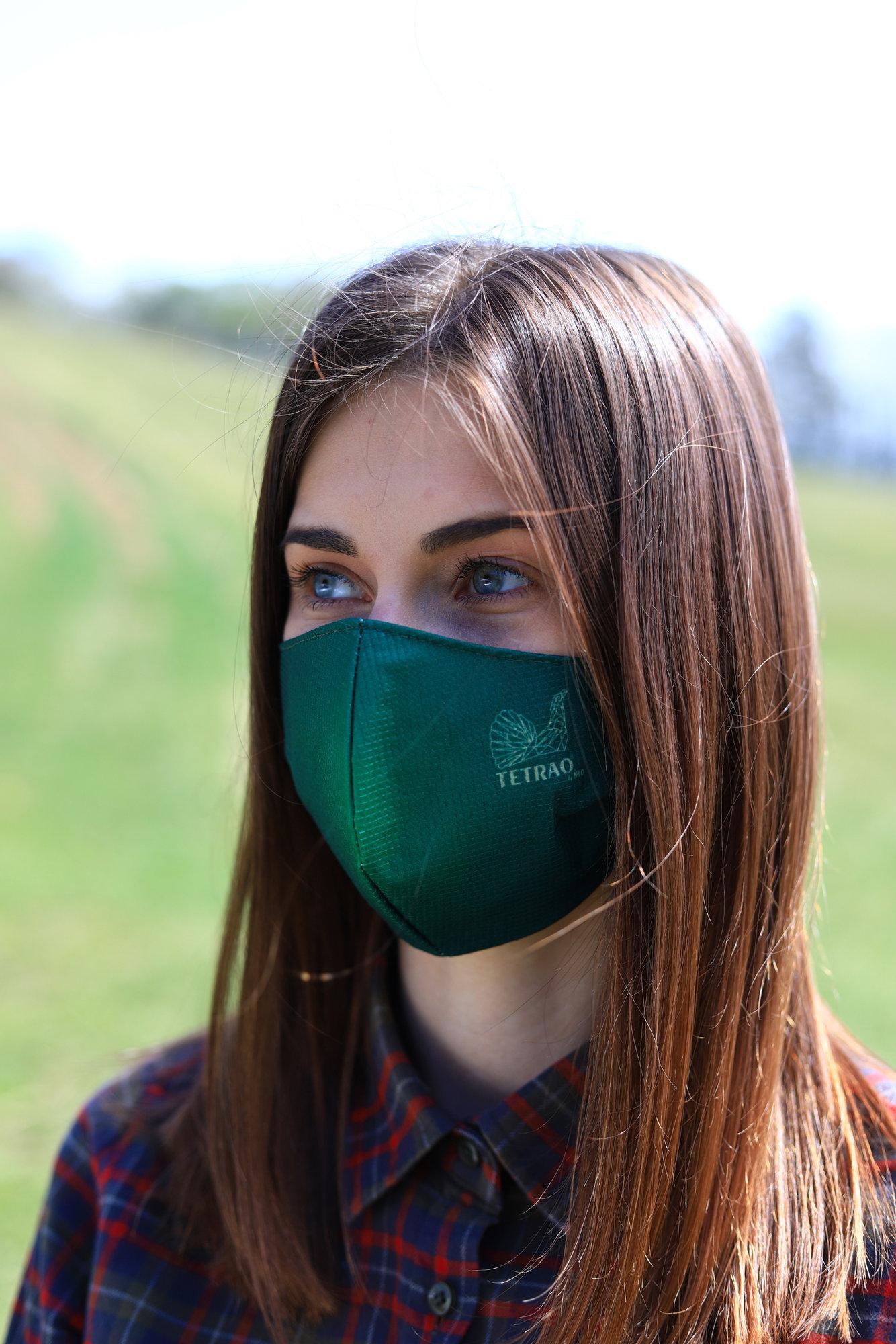 TETRAO bavlnená ochranná maska na tvár - zelené