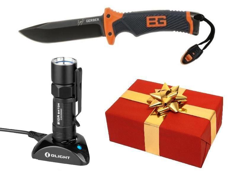 Darčekový set - Nôž Gerber+Svietidlo Olight S10R Baton III s batériou a nabíjačkou