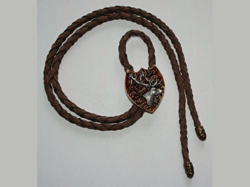 Poľovnícka kravata jeleň-hlava z profilu dva parohy