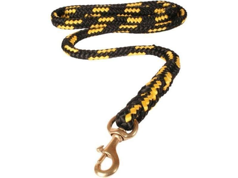 Vodítko duté lano mosazná spona 12 mm x 150 cm žlté