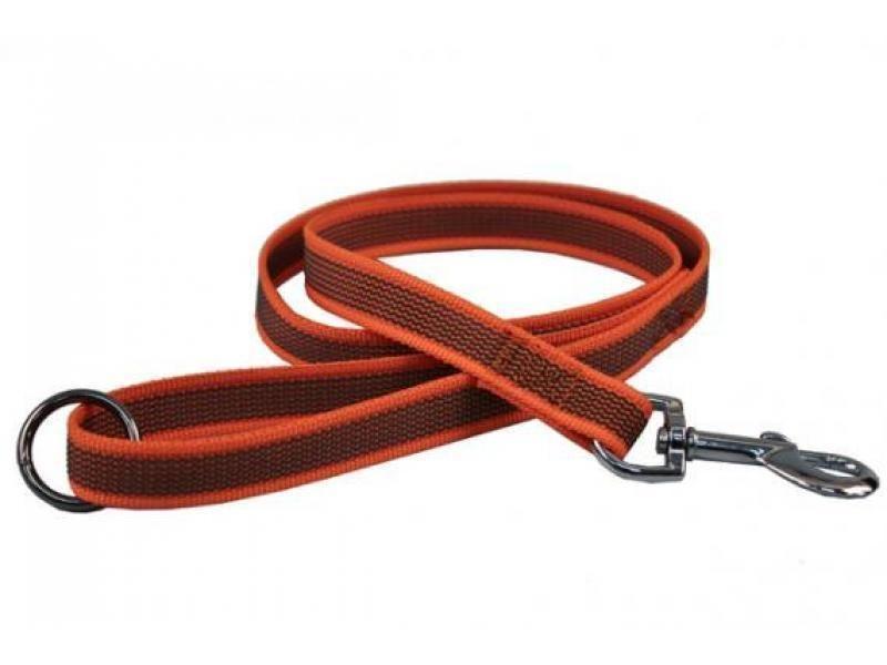 Vodítko pogumované strieborná spona oranžové 15 mm x 150 cm