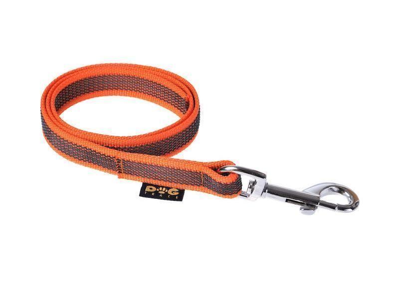 Vodítko pogumované strieborná spona oranžové 20 mm x 80 cm
