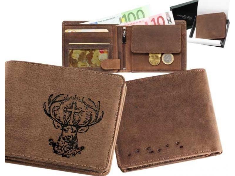 Kožená peňaženka sv.Hubert ležatá