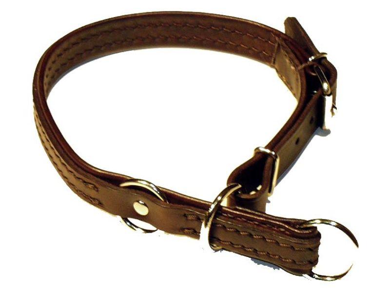 Obojok sťahovací s dorazom podšitý tenkou kožou-dĺžka 65cm