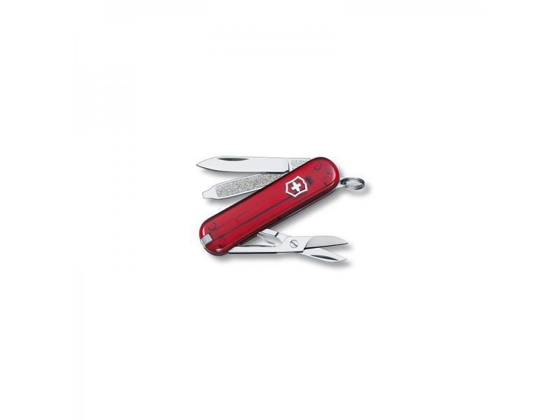 Vreckový nôž Victorinox Classic - 7 funkcií červený priehľadný