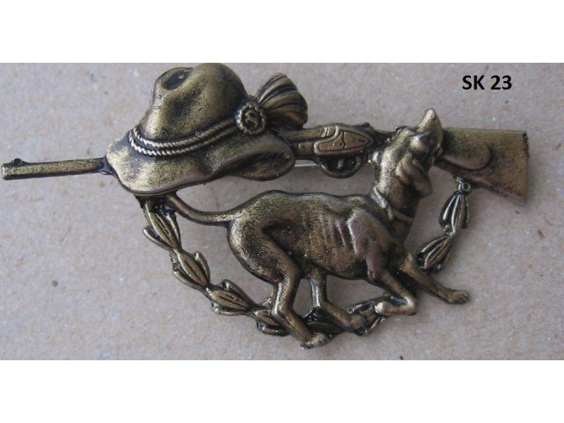 Poľovnícky odznak-pes,klobúk,zbraň