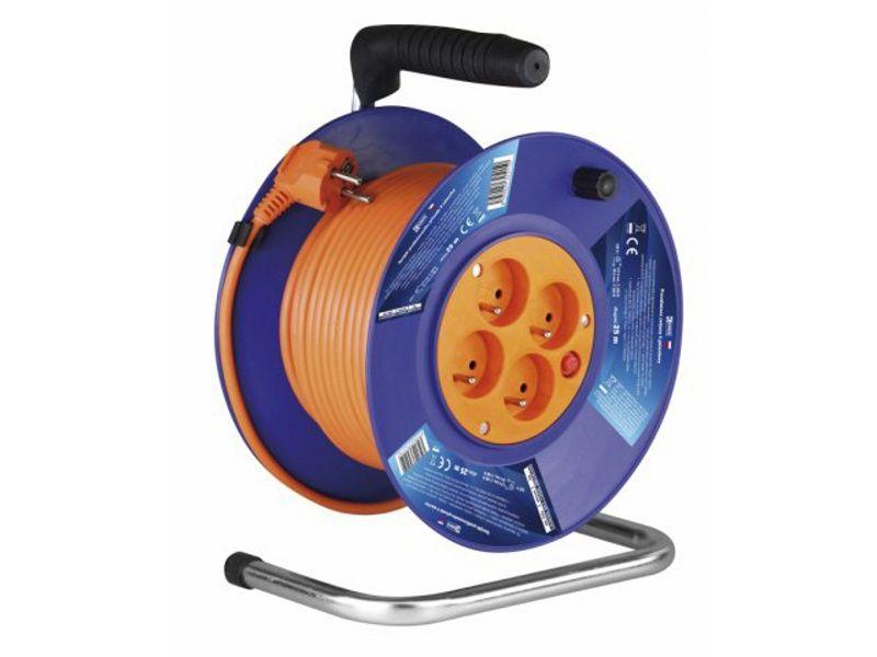 Predlžovací kábel navinutý na bubon 25m, 4 zásuvky