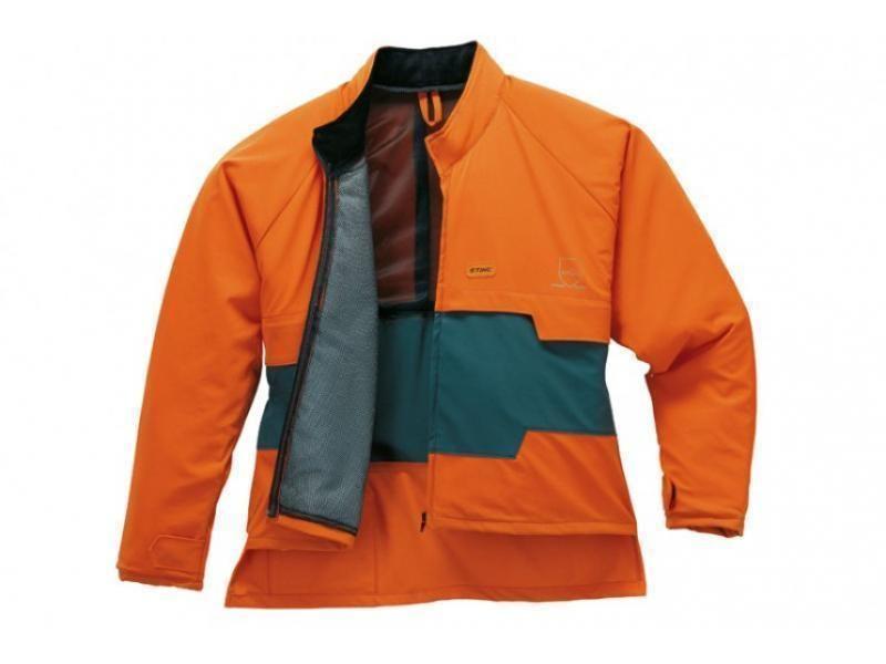Bunda ADVANCE, XL, s ochranou proti porezaniu, farba zeleno - oranžová